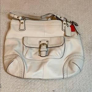 Large Cream leather coach purse